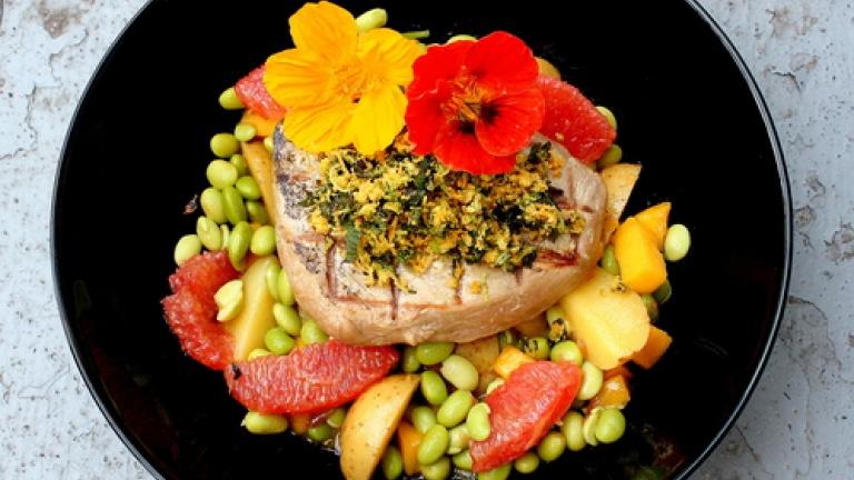 Grilled tuna salad and fresh citrus Wasabi